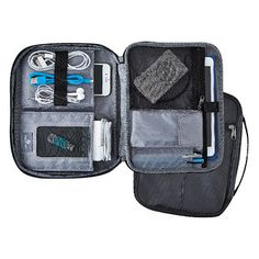 Super-rugged and designed for easy portability, our Eagle Creek eTools Organizer Pro is smart storage for all of your electronics accessories. A gusseted front pocket accommodates bulky items such as laptop power cords, chargers and adapters. Inside the main compartment, there's a space for nearly everything else with mesh pockets, padded pockets, loops for pens or earbuds and a document sleeve with hook and loop closure.