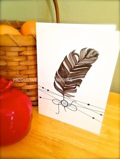 Black and White Paper Feather Card with hand-drawn strings and button...for Any Occasion Card Feather Cards, Personalized Cards, Paper Feathers, White Paper, Hand Drawn, How To Draw Hands, Button, Black, Personalised Cards