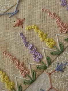 Marvelous Crewel Embroidery Long Short Soft Shading In Colors Ideas. Enchanting Crewel Embroidery Long Short Soft Shading In Colors Ideas. Crewel Embroidery, French Knot Embroidery, Flower Embroidery Designs, Hand Embroidery Stitches, Silk Ribbon Embroidery, Embroidery Techniques, Embroidery Ideas, Embroidery Tattoo, Crazy Quilt Stitches