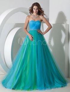 Tüll und elastische Kunstseide Prom-Kleid mit Herz-Ausschnitt und Perlen-Applikation in Blau, bodenlang - Milanoo.com