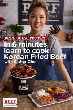 Chef Esther Choi shows you how to make lip smackin', extra-crispy Korean Fried Beef ribs. Korean Beef Recipes, Korean Food, Asian Recipes, Ethnic Recipes, Fried Beef, Crispy Beef, Healthy Dinner Recipes, Cooking Recipes, Crockpot Recipes