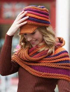 Free Pattern Hat - This colorful brimmed hat in Schachenmayr original Merino Extrafine 40 is a truly fun accessory that matches the shoulder warmer #8841A. The garter ridges accentuate the different colors. The crocheted front section brim, designed to protect the eyes from dazzling sunlight is a sporty finish to a great look.