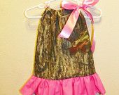 Mossy Oak double ruffle  hot pink baby girl 0 3 6 9 12 18 months pillowcase dress camo. $26.00, via Etsy.