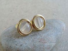 White Agate bWire Wrapped Gold Stud Earrings by JustynaSart