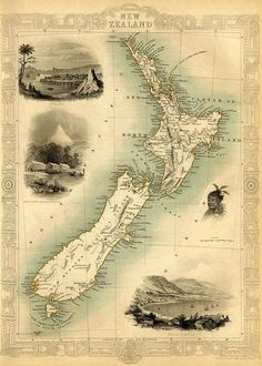 A fully hand coloured example of the most decorative colonial map of New Zealand which includes numerous insets; New Plymouth, Wellington, Auckland and a Maori portrait. The map is surrounded by border incorporating Maori motiffs. Vintage Maps, Antique Maps, Vintage Wall Art, World Atlas Map, Map Of New Zealand, Old Maps, Historical Maps, Illustrations, Plans