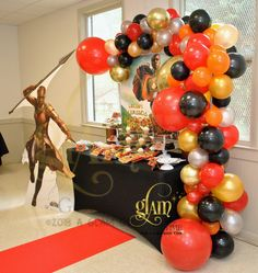 Wakanda/Black Panther/Girl Power balloon decor. Balloon Installation. Balloon Arch