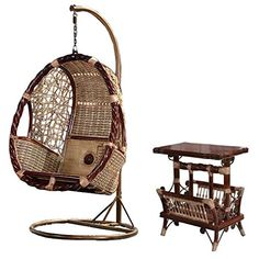 Natural bamboo - rattan wicker swing set / trapeze / hanging chair suite / longue / seat / settee / seater / couch / chair / coffee table / tea table / teapoy / side table / end table