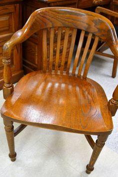 Antique Oak Office Jury Court Bankers Chair Vintage
