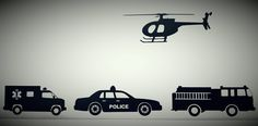 Rescue Vehicles Vinyl Decals, Helicopter, Fire Truck, Police Car, Fire truck, Vinly Decals, Wall Decal, Wall Decals by ThisToThatCreations on Etsy