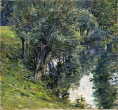 "bofransson: "" The Brook Theodore Robinson - circa 1891 "" Landscape Art, Landscape Paintings, Landscapes, Tree Paintings, Theodore Robinson, Natural World, American Art, Unique Art, Les Oeuvres"