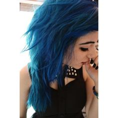 Beautiful blue messy bun... I will dye my hair blue again someday :3 |... ❤ liked on Polyvore featuring beauty products, haircare and hair