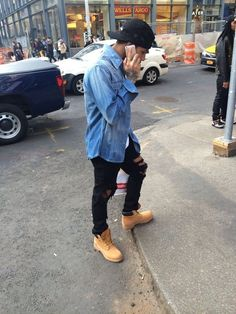 Denim Skinny Distressed Jeans Timberlands