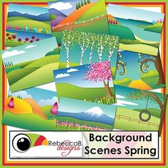 Background Scenes Spring contains 10 colored and 10 black and white background scenes for your products. Simply place your text and clip art over the background scene to create outstanding product covers, posters and other teaching resources. This pack also includes 5 edge frames to highlight your product even further.
