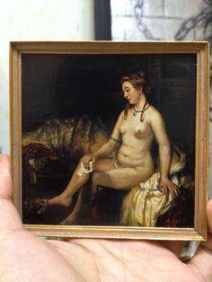 Miniature reproduction work. Rembrandt. Bathsheba. Acrylic on cardboard.