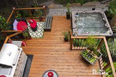 Deck Yard Ideas, Backyard Patio Designs, Backyard Projects, Outdoor Projects, Hot Tub Deck, Hot Tub Backyard, Hot Tub Garden, Deck Makeover, Backyard Makeover