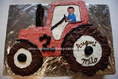Homemade Tractor Cake: I made this tractor cake for my son's second birthday. I looked at images from his tractor books, then drew a pattern on newsprint. This is not too hard