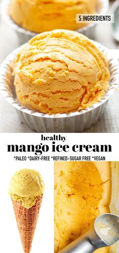 This Mango Ice Cream is deliciously creamy & made with 5 ingredients with or without an ice cream maker with fresh mango & coconut cream. Healthy homemade ice cream better for you than any store-bought ice cream & makes the perfect frozen treat for summer. Vegan, refined sugar-free, paleo-friendly and dairy-free. With or without an ice cream maker & makes the perfect frozen treat for summer. #mangoicecream #paleo #homemadeicecream #mangoicecream #summer #vegan Easy No Bake Desserts, Frozen Desserts, Frozen Treats, Vegan Desserts, Delicious Desserts, Dessert Recipes, Vegan Recipes, Dinner Recipes, Mango Recipes