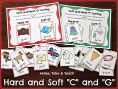 Hands-on activity for teaching and practicing words containing hard and soft c and g Phonics Rules, Abc Phonics, First Grade Phonics, Phonics Words, Phonics Reading, First Grade Teachers, Guided Reading, Teaching Reading, Phonics Dance