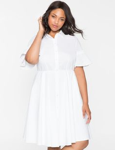 Ruffle Sleeve Shirt Dress from eloquii.com