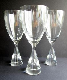 3 Princess iconic glasses for water / beer (also claret / red wine) designed 1957 by Bent Severin / Holmegaard's Glasvaerk.  Price is per 3 by SCALDESIGN on Etsy