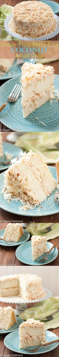 This Dairy Free Gluten Free Coconut Layer Cake is a stunning spring dessert. The toasted coconut sprinkled all over the silky dairy free coconut buttercream hides any imperfections making this is an easy, show-stopping dessert for Easter. AD @glutino