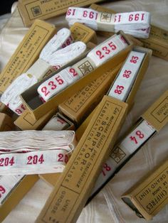 12 boxes vintage French 1920s woven name tape ribbon - numbers
