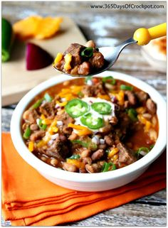 Slow Cooker Beefy 15-Bean Chili with Cajun-Lime Sour Cream