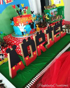 Check out these letters at a Mickey Mouse clubhouse birthday party! See more party planning ideas at CatchMyParty.com!