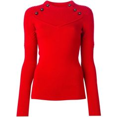 Isabel Marant ribbed detail sweater (2.725 VEF) ❤ liked on Polyvore featuring tops, sweaters, long sleeves, shirts, red, longsleeve shirt, red sweater, isabel marant, extra long sleeve shirts and red long sleeve top