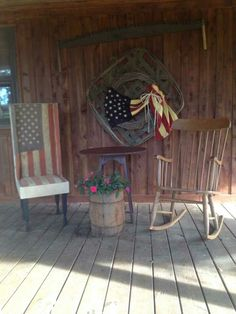 (Love the flag make do chair on the left) Primitive Porch