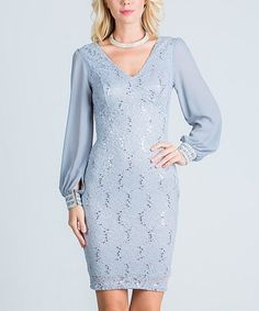 Look at this #zulilyfind! Silver Lace Embellished-Cuff V-Neck Dress #zulilyfinds