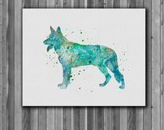 Dog watercolor, German shepherd Watercolor Print    Instant Download Printable  You'll receive an 8x10 inch printable INSTANT DOWNLOAD of a