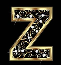 Illustration of Z gold letter with swirly ornaments vector art, clipart and stock vectors.