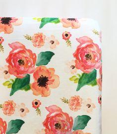 Fitted crib sheet | coral peach floral dreams | flower crib sheet | flower floral nursery | by WilderAndBean
