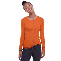 Heartsoul Women's Round Neck Long Sleeve T-Shirt | allheart.com #nursestyle #medicalstyle #hospitalstyle #orange