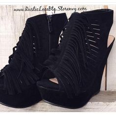 Just a Few Left in Stock on These Fringe Wedges Hi! I'm Rachelle. Owner of Rustic Lace Btq. I'm a mom of 5 chaotic, energetic, wild fun loving kiddos. I've always had a passion for owning my own boutique & to that I have my dad to thank for supporting my dream & my mom looking over us. He supported me in what made me happy, rather than the path he wanted for me. Paths change in life, but for now I get to live a dream & still be there for every bump, scrap, tear, laughter & game. Thank you to…