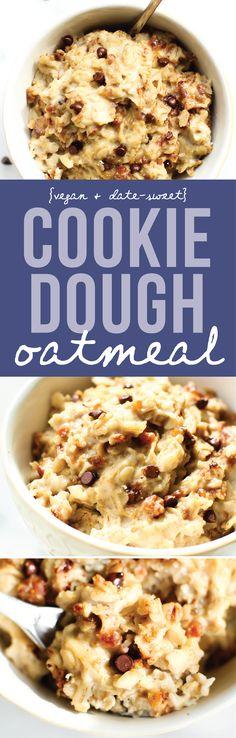 Chocolate Chip Cookie Dough Oatmeal {Vegan & Gluten-Free}
