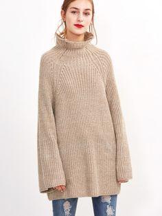 Apricot High Neck Raglan Sleeve Loose Sweater