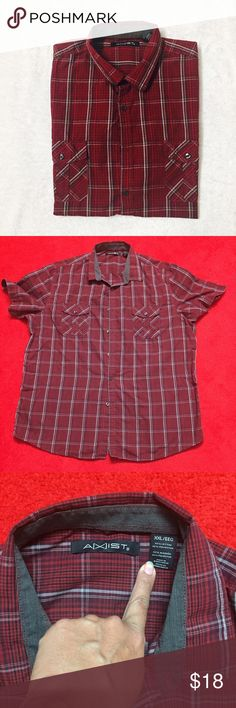 Men's causal wear shirt Dark red color men's half sleeves shirt with front pocket . Excellent used condition . Bundle to save more . Ask any Q before u buy . axist Shirts Casual Button Down Shirts