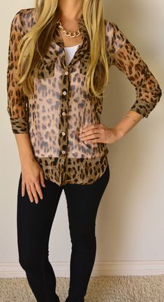 #cheetah #button up # black pants #fashion