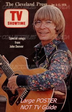 "JOHN DENVER 1975= Playing Guitar FLOWER SHIRT Cleveland 19""POSTER = Not TV Guide in Collectibles, Photographic Images, Contemporary (1940-Now), Other Contemporary Photographs 