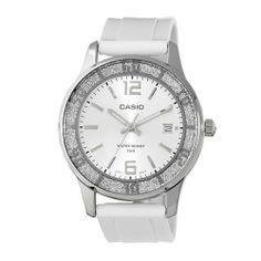 Casio Women's LTP1359-7AV  Silver Bezel Watch Casio. $64.95. 3-hand analog. Stainless steel case back. Date display. lamé-sprinkled bezel. Water-resistant to 50 M (165 feet)