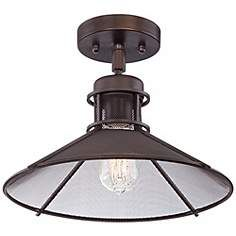 """Glasgow Industrial 14"""" Wide Oil-Rubbed Bronze Ceiling Light Above Writing Desk"""