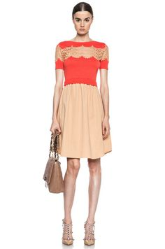 CARVEN | Lace and Knit Dress in Poppy Red