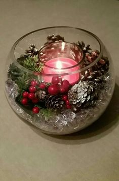 40 Trend Simple Rustic Winter Christmas Centerpiece 33 Rustic Home Decor Centerpiece Christmas Rustic SIMPLE trend Winter Christmas Candle Decorations, Christmas Candles, Rustic Christmas, Simple Christmas, Christmas Bulbs, Christmas Crafts, Christmas Bowl, Winter Christmas, Hygge Christmas
