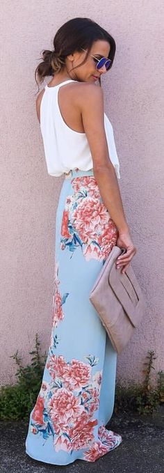 #summer #outfits  White Top + Blue Floral Maxi Skirt