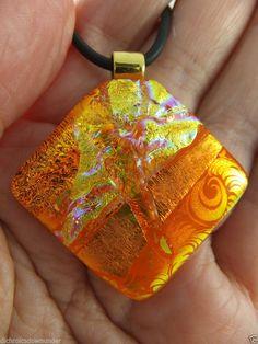 ORANGE GOLD SATIN & SILK - Unique Handmade Dichroic Glass Pendant + Black Cord by Cheryl Smith