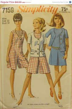 Sale Sale Sale 60s Simplicity 7159 by SewYesterdayPatterns on Etsy (Craft Supplies & Tools, Patterns & Tutorials, Sewing & Needlecraft, Sewing, commercial, mad men, collectible, craft supplies, 1960s pattern, womens misses, sewing pattern, vintage pattern, sewing supplies, patternpatter, womens dress pattern, jacket pattern, culotte dress)