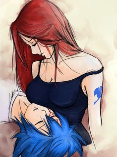 I love this drawing from Erza and Jellal so much ❤                                                                                                                                                                                 Plus