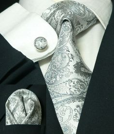 Silver and Gray Paisley Necktie Set JPM18570